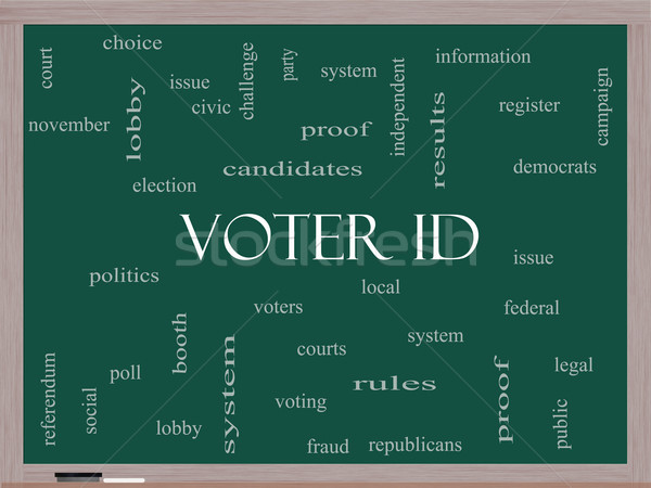 Voter ID Word Cloud Concept on a Blackboard Stock photo © mybaitshop
