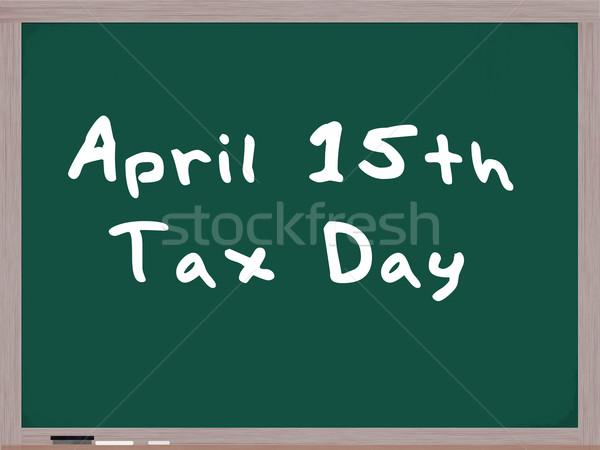 April 15th Tax Day written on blackboard Stock photo © mybaitshop