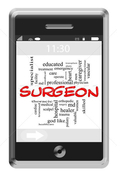 Sebész szófelhő érintőképernyő telefon nagyszerű tanult Stock fotó © mybaitshop