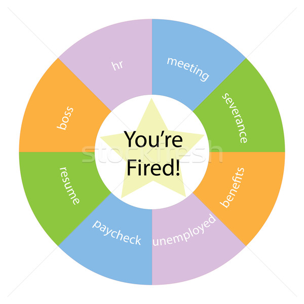 You're Fired circular concept with colors and star Stock photo © mybaitshop
