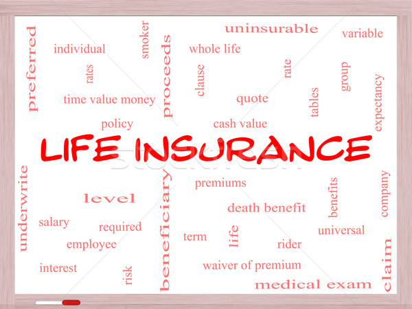 Life Insurance Word Cloud Concept on a Whiteboard Stock photo © mybaitshop