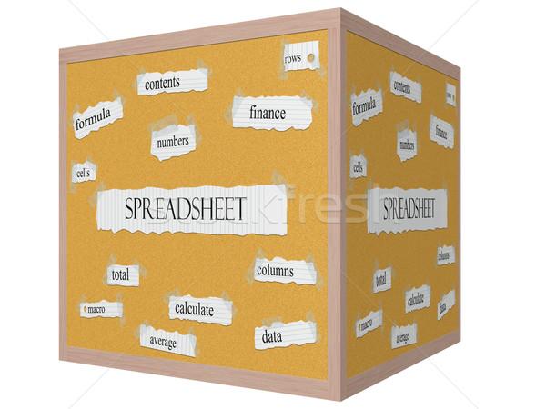 Spreadsheet 3D Cube Corkboard Word Concept Stock photo © mybaitshop