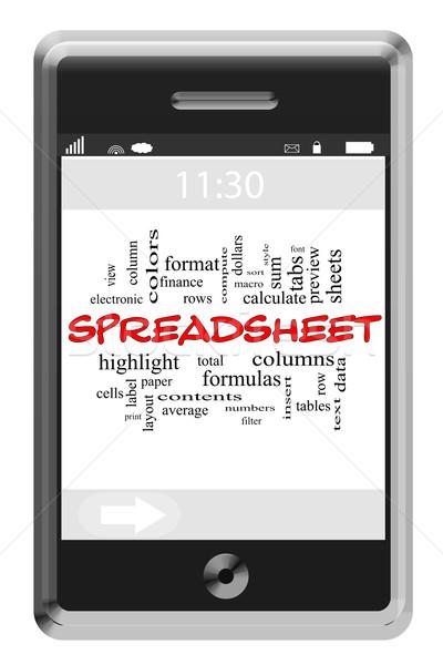Táblázat szófelhő érintőképernyő telefon nagyszerű sorok Stock fotó © mybaitshop