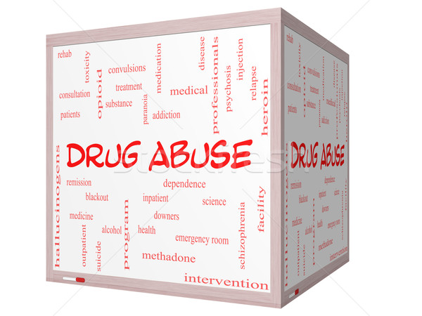 Stock photo: Drug Abuse Word Cloud Concept on a 3D Cube Whiteboard
