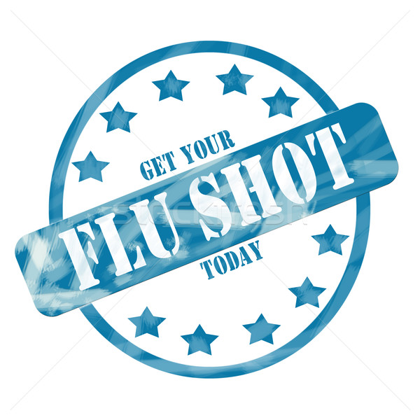 Blue Weathered Flu Shot Stamp Circle and Stars Stock photo © mybaitshop