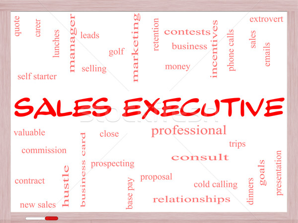 Sales Executive Word Cloud Concept on a Whiteboard Stock photo © mybaitshop