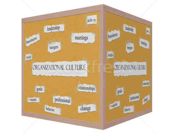 Organizational Culture 3D cube Corkboard Word Concept Stock photo © mybaitshop