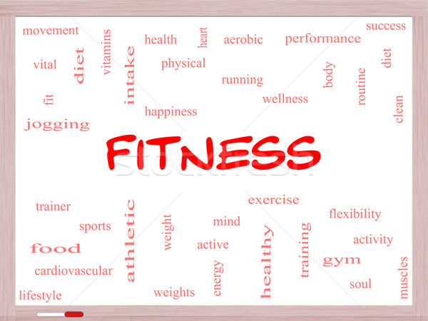 Fitness Word Cloud Concept on a Whiteboard Stock photo © mybaitshop