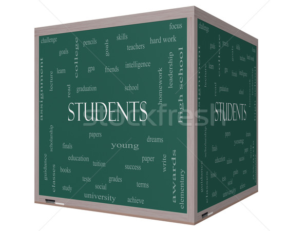 Students Word Cloud Concept on a 3D cube Blackboard Stock photo © mybaitshop