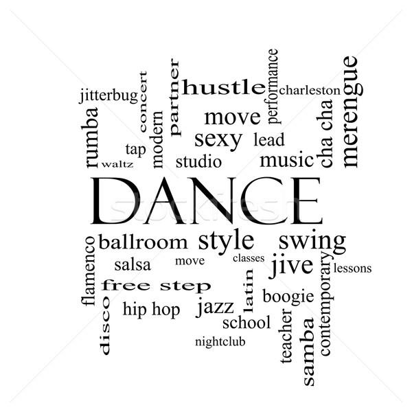 Dance chmura słowo czarno białe muzyki sala balowa Zdjęcia stock © mybaitshop