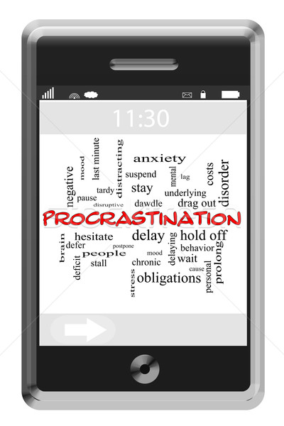 Procrastination Word Cloud Concept on Touchscreen Phone Stock photo © mybaitshop