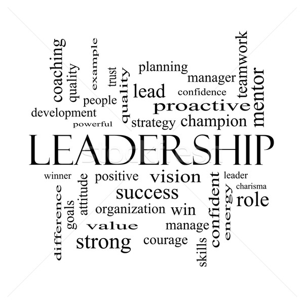Leadership Word Cloud Concept in black and white Stock photo © mybaitshop
