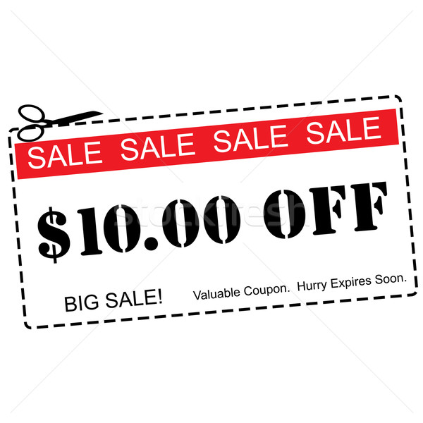 Ten Dollars Off Sale Coupon Stock photo © mybaitshop