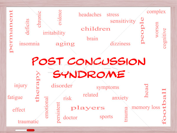 Post Concussion Syndrome Word Cloud Concept on a Whiteboard Stock photo © mybaitshop