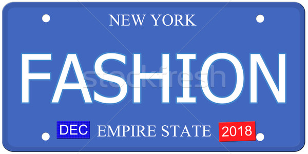New York mode imitatie kentekenplaat woord Stockfoto © mybaitshop