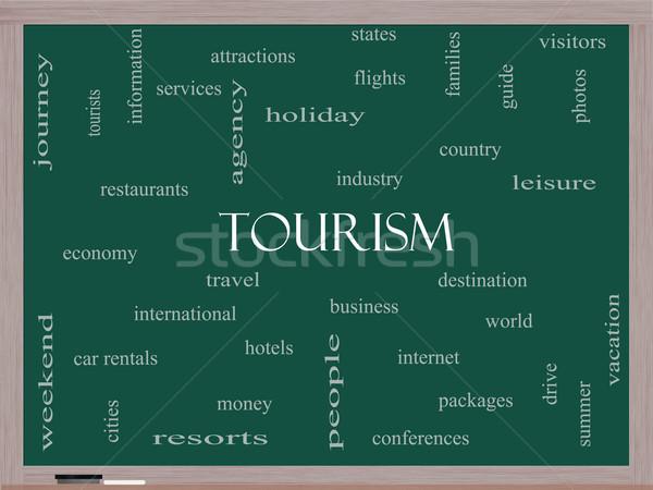 Tourism Word Cloud Concept on a Blackboard Stock photo © mybaitshop