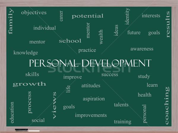 Personal Development Word Cloud Concept on a Blackboard Stock photo © mybaitshop