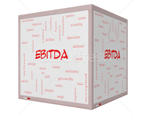 EBITDA Word Cloud Concept on a 3D cube Whiteboard Stock photo © mybaitshop