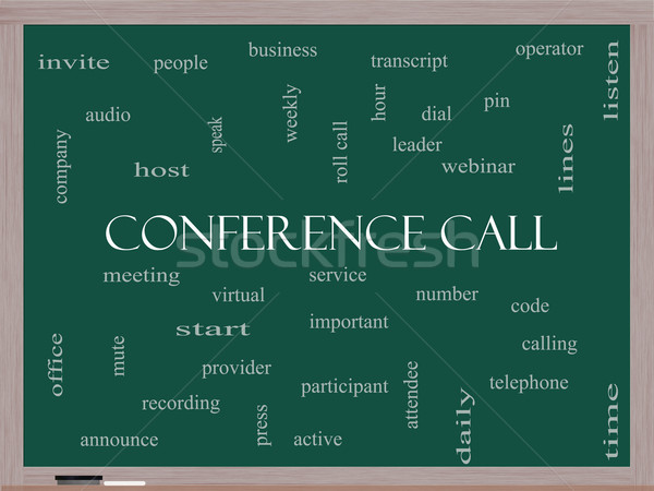 Conference Call Word Cloud Concept on a Blackboard Stock photo © mybaitshop