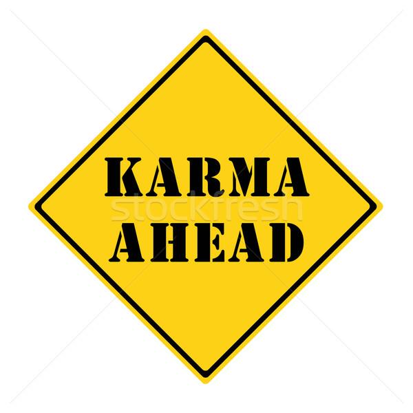 Karma előre felirat citromsárga fekete gyémánt Stock fotó © mybaitshop