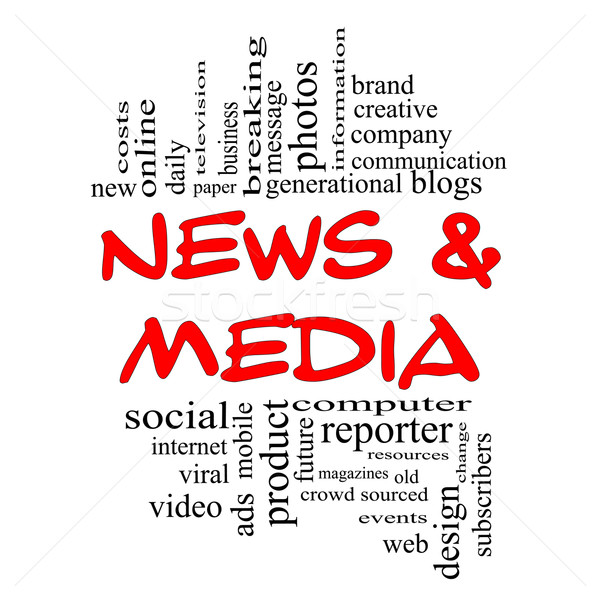 News and Media Word Cloud Concept in red & black Stock photo © mybaitshop