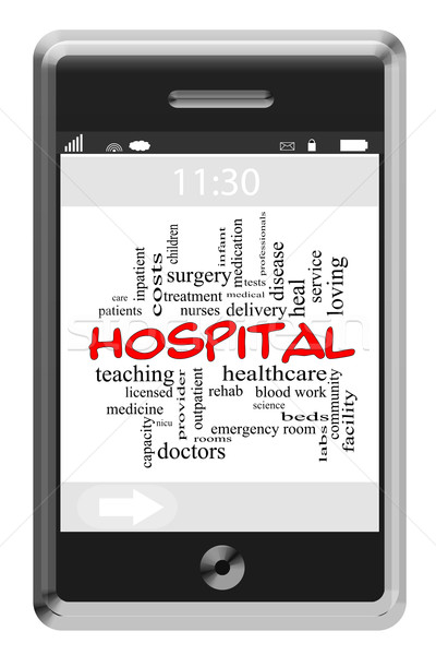 Hospital Word Cloud Concept on Touchscreen Phone Stock photo © mybaitshop