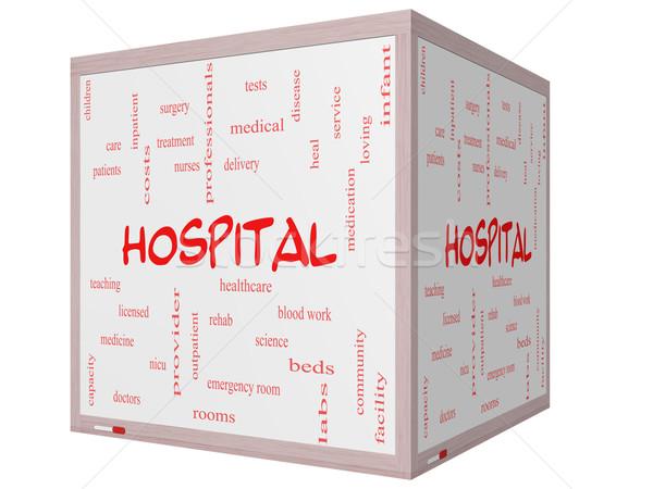 Kórház szófelhő 3D kocka tábla nagyszerű Stock fotó © mybaitshop