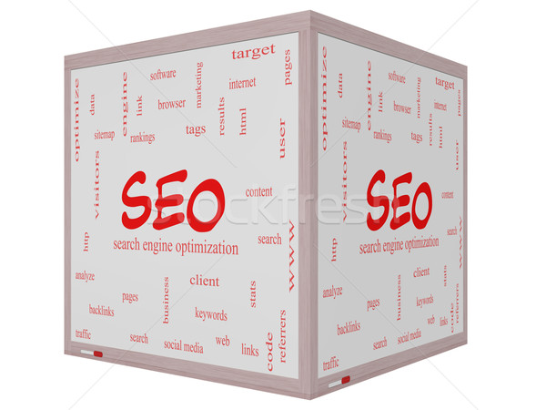 SEO Word Cloud Concept on a 3D cube Whiteboard Stock photo © mybaitshop
