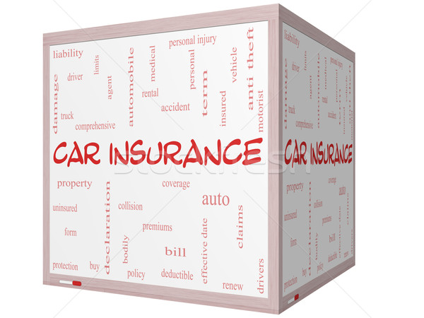 Car Insurance Word Cloud Concept on a 3D cube Whiteboard Stock photo © mybaitshop