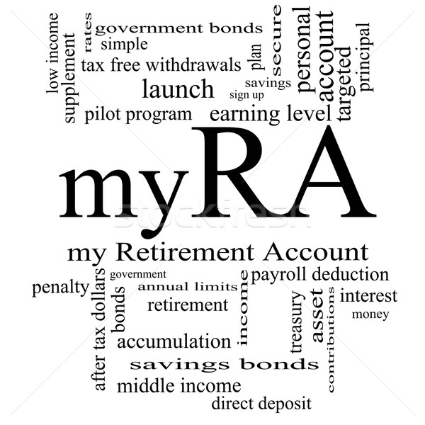 myRA Word Cloud Concept in black and white Stock photo © mybaitshop