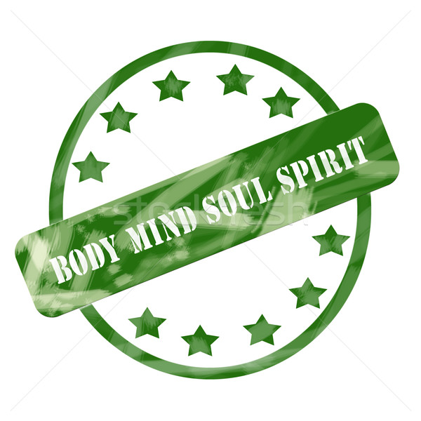 Green Weathered Body Mind Soul Spirit Stamp Circle and Stars Stock photo © mybaitshop