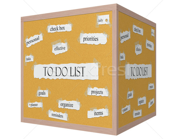 To Do List 3D cube Corkboard Word Concept Stock photo © mybaitshop