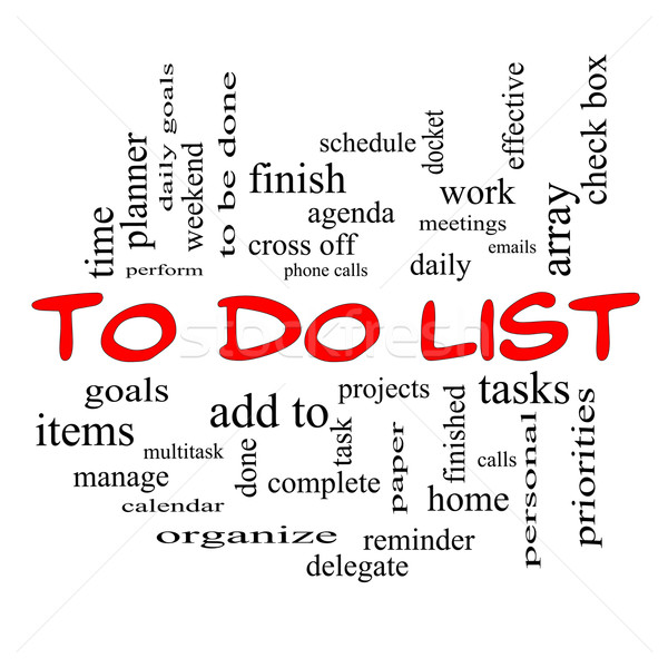 To Do List Word Cloud Concept in red caps Stock photo © mybaitshop