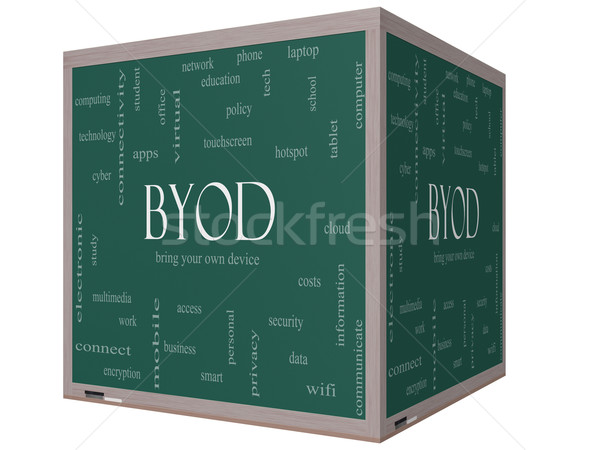 BYOD Word Cloud Concept on a 3D cube Blackboard Stock photo © mybaitshop