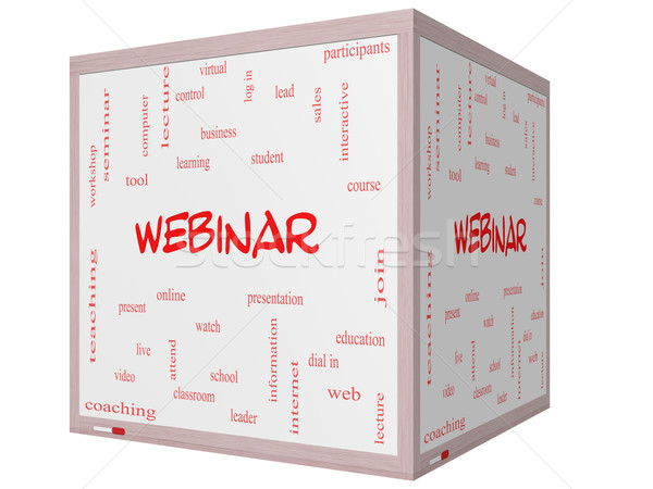 Webinar Word Cloud Concept on a 3D cube Whiteboard Stock photo © mybaitshop