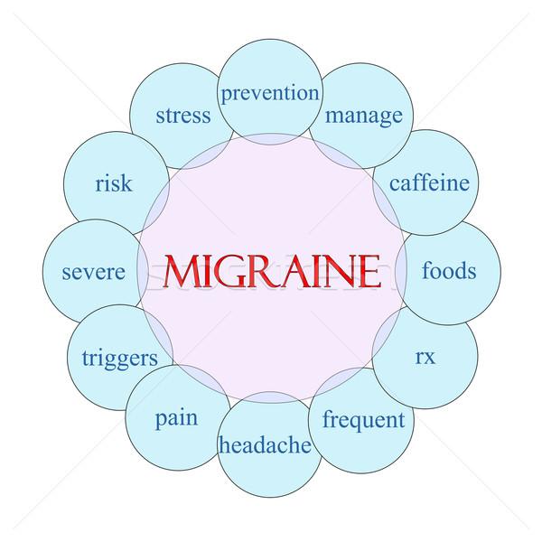 Migraine woord diagram roze Blauw Stockfoto © mybaitshop