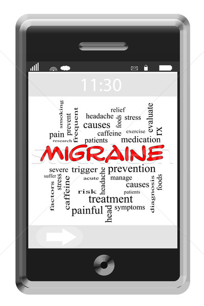 Migraine Word Cloud Concept on Touchscreen Phone Stock photo © mybaitshop