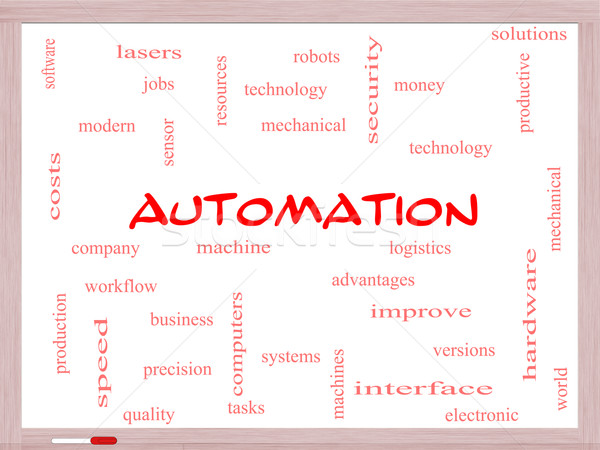 Automation Word Cloud Concept on a Whiteboard Stock photo © mybaitshop