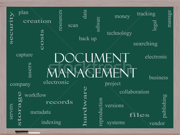Document Management Word Cloud Concept on a Blackboard Stock photo © mybaitshop