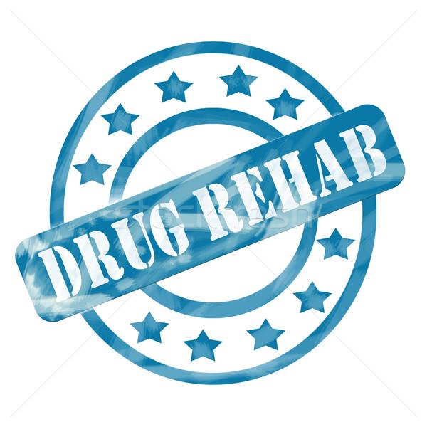 Blue Weathered Drug Rehab Stamp Circles and Stars Stock photo © mybaitshop