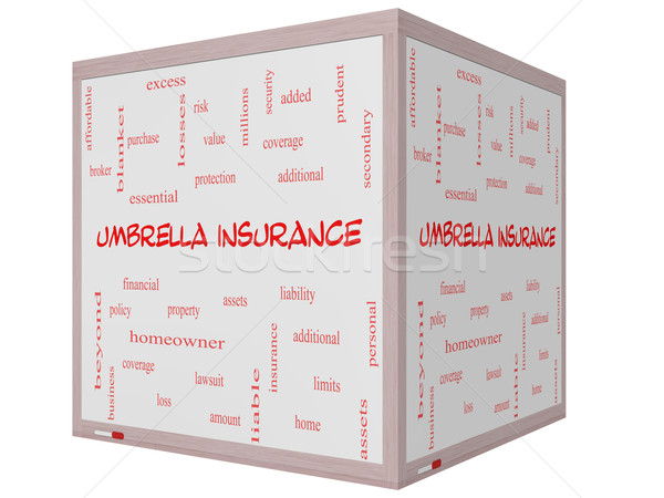 Umbrella Insurance Word Cloud Concept on a 3D cube Whiteboard Stock photo © mybaitshop