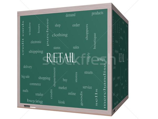Retail Word Cloud Concept on a 3D cube Blackboard Stock photo © mybaitshop