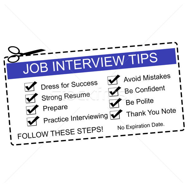 Blue Job Interview Tips Coupon Stock photo © mybaitshop
