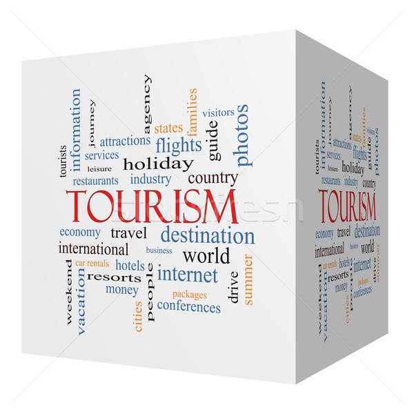 Tourism 3D cube Word Cloud Concept Stock photo © mybaitshop