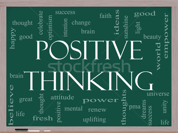 Pozitif düşünme kelime bulutu tahta muhteşem iyi Stok fotoğraf © mybaitshop