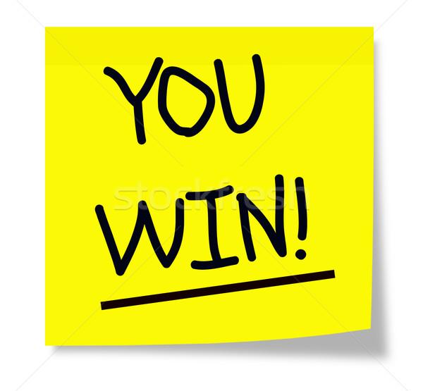 Wygrać karteczkę żółty obraz Zdjęcia stock © mybaitshop