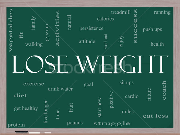Lose Weight Word Cloud Concept on a Blackboard Stock photo © mybaitshop