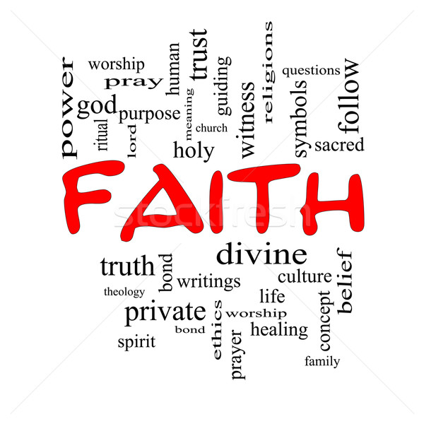 Faith Word Cloud Concept in Red Caps Stock photo © mybaitshop