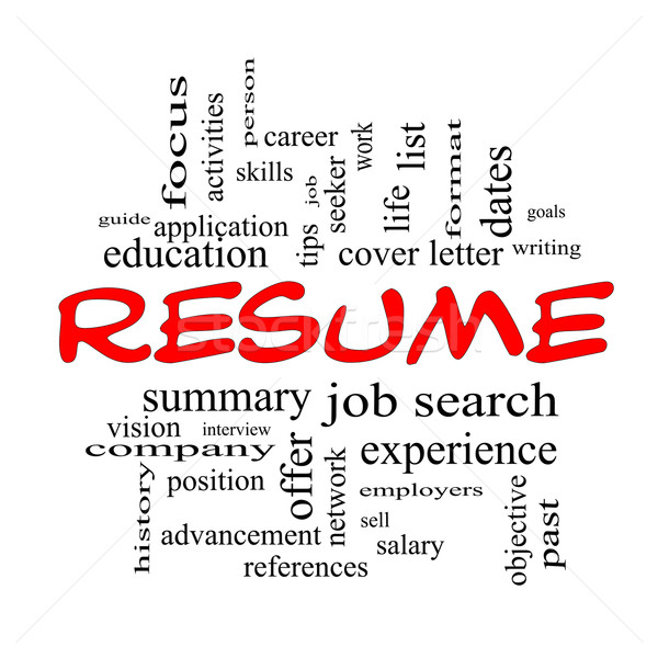 Resume Word Cloud Concept in Red Caps Stock photo © mybaitshop