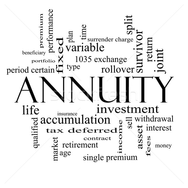 Annuity Word Cloud Concept in black and white Stock photo © mybaitshop